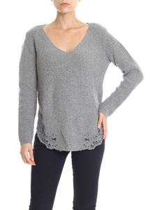 Ermanno by Ermanno Scervino - Gray pullover with lace inserts