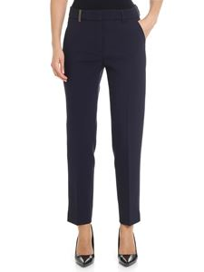 Peserico - Blue trousers with brown insert on the waist