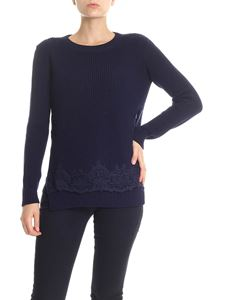 Ermanno by Ermanno Scervino - Blue pullover with lace insert