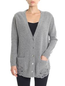 Ermanno by Ermanno Scervino - Gray cardigan with lace inserts