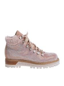 Le Silla - Pink St. Moritz ankle boots with crystal rhinestones