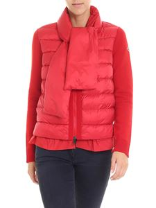 Moncler - Red tricot cardigan with scarf applied