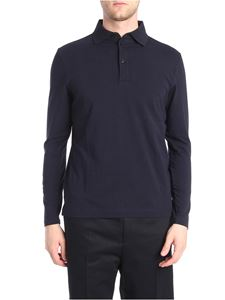 Jil Sander - Dark blue long sleeve polo