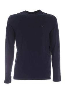 Emporio Armani - Blue long-sleeved T-shirt with logo