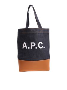 A.P.C. - Blue denim and camel-colored leather bag