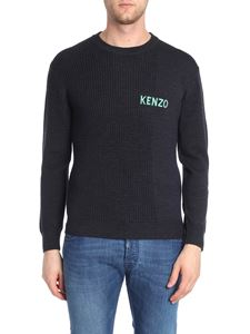 Kenzo - Black pullover with green and white logo embroidery