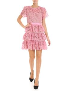 Self-Portrait - Pink macramé dress with flounces