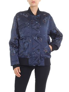 Kenzo - Blue bomber jacket with floral embroidery