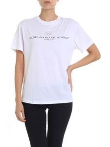 Golden Goose Deluxe Brand - White t-shirt with black and golden logo print