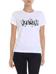 Kenzo - White t-shirt with floral logo print