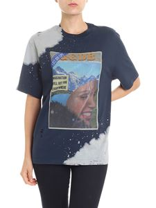 Golden Goose Deluxe Brand - Blue vintage effect printed t-shirt