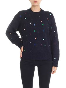 Kenzo - Blue pullover with multicolor rhinestones inserts
