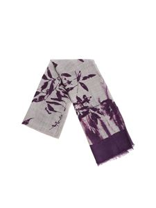 Altea - Grey and purple floral embroidery scarf