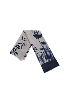 Altea - Grey and blue floral embroidery scarf