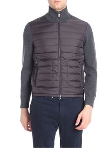 Moncler - Dark grey cardigan with quilted insert