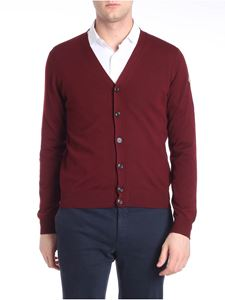 Moncler - Burgundy V-neck cardigan