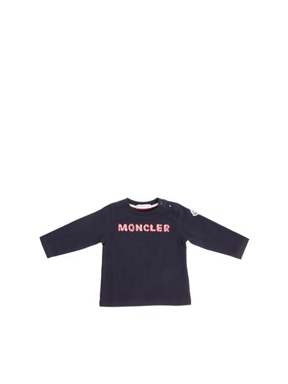 35fa1ff20 Moncler Jr Fall Winter 18/19 blue t-shirt with red and white logo ...