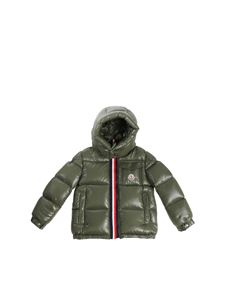 Moncler Jr - Green Montbeliard down jacket with logo