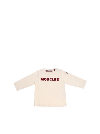 7121fd253 Moncler Jr Fall Winter 18/19 cream-colored t-shirt with red and blue ...