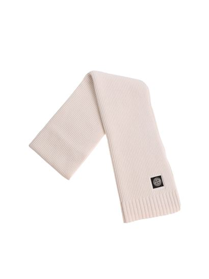 18a661642 Cream-colored ribbed scarf with logo