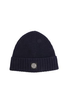 Stone Island Junior - Ribbed blue beanie with logo