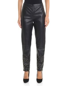 Moschino Boutique - Black leather pants with golden inserts