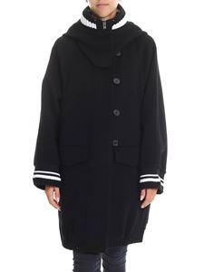 Ermanno Scervino - Black coat with knitted edges and hood