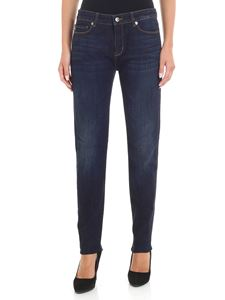 Love Moschino - Blue jeans with red rhinestones heart insert