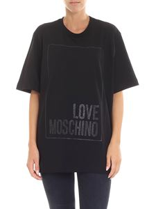 Love Moschino - Black t-shirt with glittered logo print