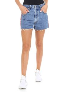 Levi's - Light blue denim shorts with side stripes