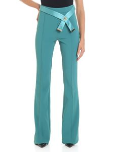 Elisabetta Franchi - Green flared trousers with satin belt