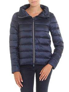 Save the duck - Blue padded jacket with high collar