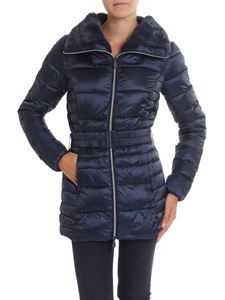 Save the duck - Blue padded jacket with faux fur insert