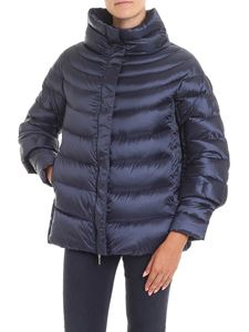 HETREGO' - Joana S blue down jacket with crater collar