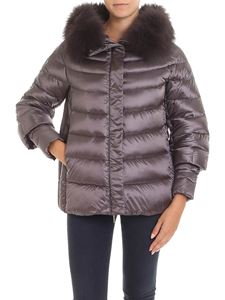 HETREGO' - Brown Joana down jacket with fox fur collar