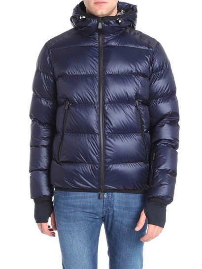 b6a9fc214 Blue down jacket with logo on the sleeve