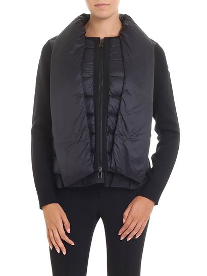 Moncler - Black tricot cardigan with applied scarf
