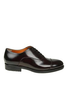 Santoni - Black leather Oxford shoes