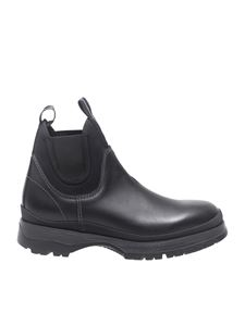 Prada Sport - Black leather and neoprene chelsea boots