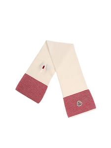 Moncler Jr - White and red knitted scarf