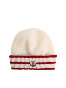 Moncler Jr - White and red knitted beanie