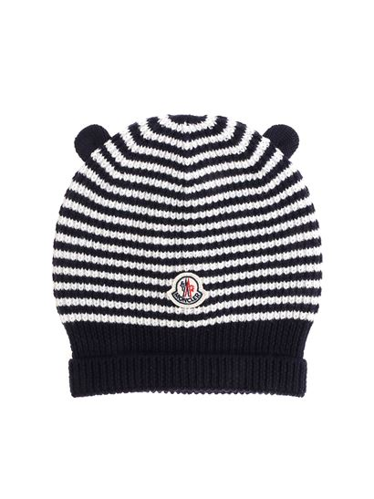 Moncler Jr Fall Winter 18 19 white and blue knitted beanie - 9920905 ... 9025c9c1728
