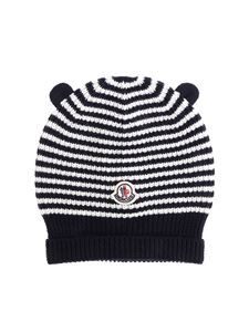 Moncler Jr - White and blue knitted beanie