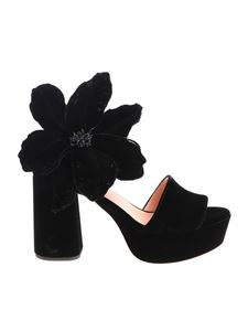Rochas - Black velvet sandal with flower detail