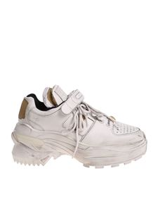 Maison Margiela - Vintage effect white sneakers with velcro