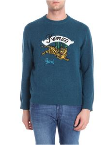 Kenzo - Green-blue color pullover with inlay