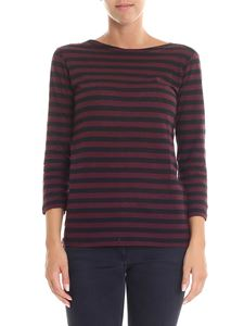 Majestic Filatures - Crew neck sweater in shades of burgundy