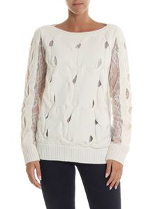 Blumarine - Cream-colored knitted pullover with lace details