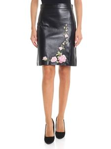 Blumarine - Black leather skirt with floral embroidery