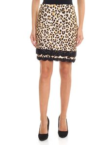 Blumarine - Gonna animalier con inserti in macramè